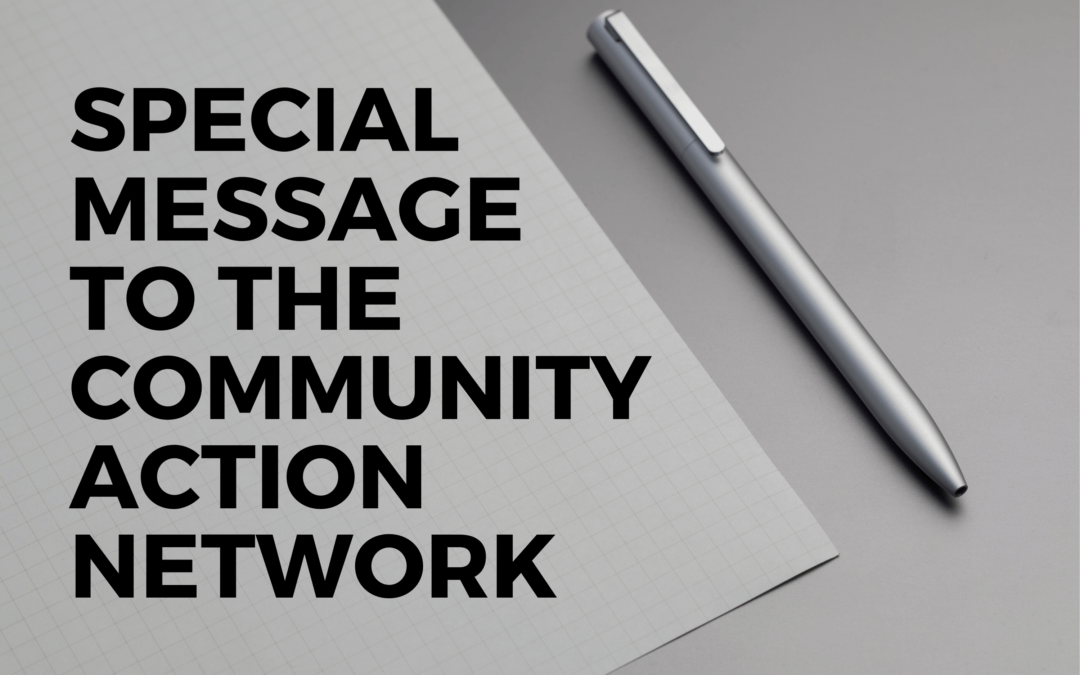 Special Message to the Community Action Network – The Community Action Network & COVID-19